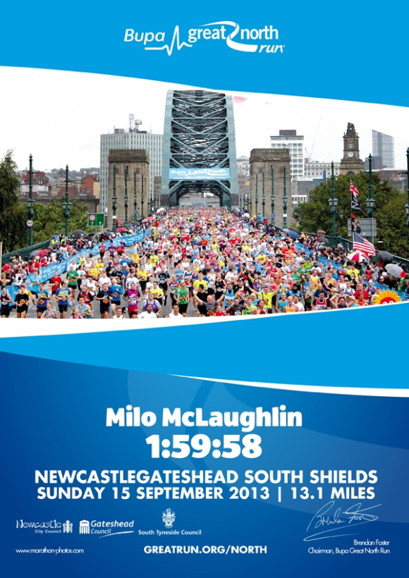 Great North Run 2013 Certificate - Milo